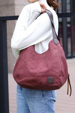 红色复古单肩帆布手提包