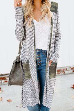 时尚迷彩拼接口袋排扣长款条纹开襟衫
