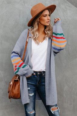 灰色可爱条纹长袖宽松舒适开衫