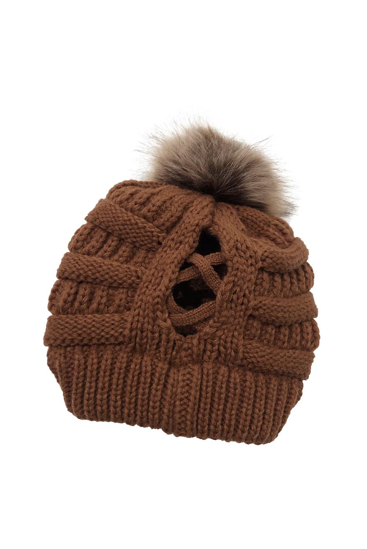 棕色户外绒球电缆针织无檐小便帽 LC02127