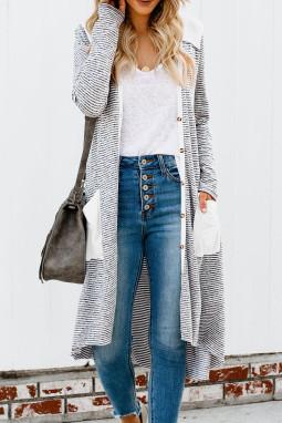 白色拼接口袋排扣长款条纹开襟衫