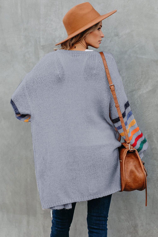 灰色可爱条纹长袖宽松舒适开衫 LC271037
