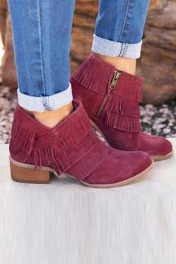 酒红色拉链低跟时尚流苏靴子
