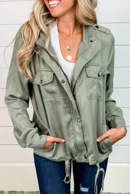 橄榄绿功能口袋按扣拉链休闲夹克外套