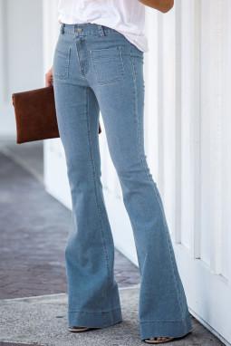 浅蓝色复古休闲口袋喇叭女士牛仔裤
