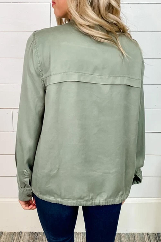 橄榄绿功能口袋按扣拉链休闲夹克外套 LC851209