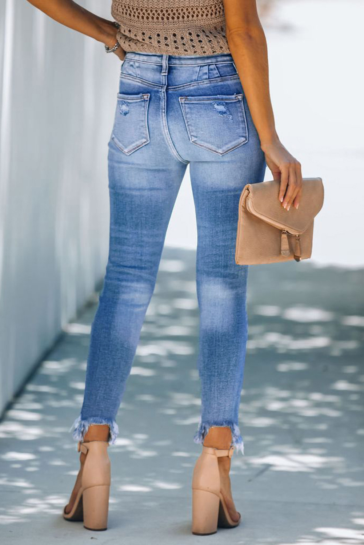 浅蓝色纽扣高腰破洞磨损修身牛仔裤 LC78227