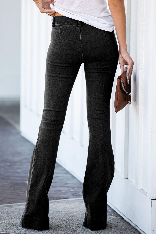 黑色复古休闲口袋喇叭女士牛仔裤 LC78362