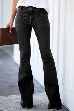 黑色复古休闲口袋喇叭女士牛仔裤