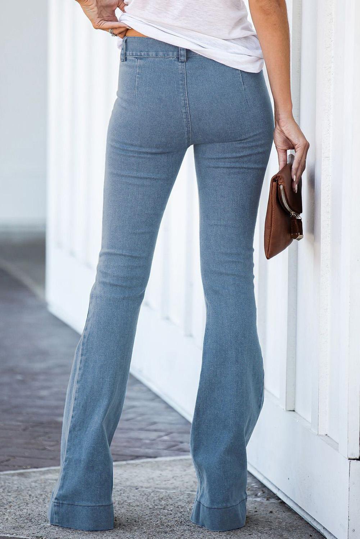 浅蓝色复古休闲口袋喇叭女士牛仔裤 LC78362