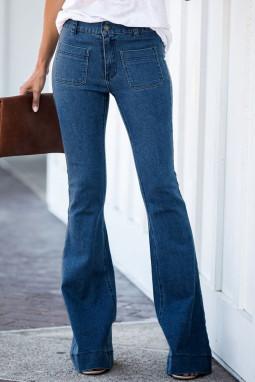 蓝色复古休闲口袋喇叭女士牛仔裤