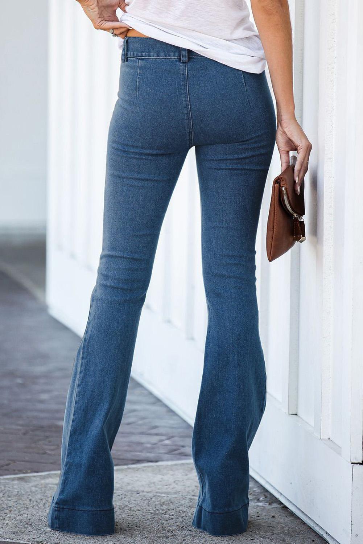 蓝色复古休闲口袋喇叭女士牛仔裤 LC78362
