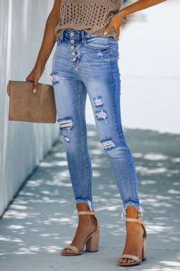 浅蓝色纽扣高腰破洞磨损修身牛仔裤