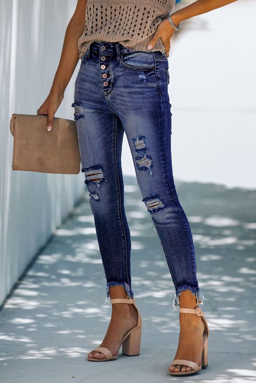 蓝色纽扣高腰破洞磨损修身牛仔裤 LC78227