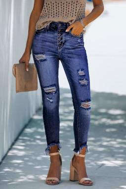 蓝色纽扣高腰破洞磨损修身牛仔裤
