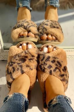 棕色绒毛豹纹交叉露趾拖鞋