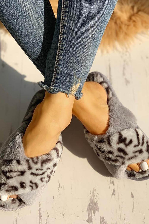 灰色绒毛豹纹交叉露趾拖鞋 LC12243