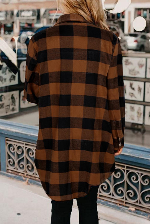 棕色时尚格纹排扣翻领衬衫外套 LC851273