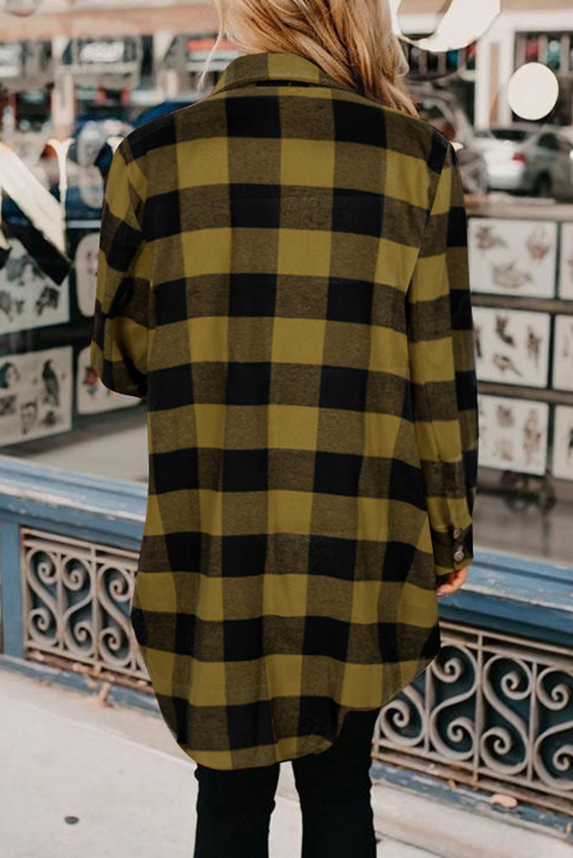 黄色时尚格纹排扣翻领衬衫外套 LC851273