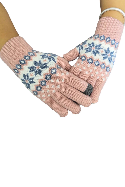 粉色时髦可爱针织手套 LC002012
