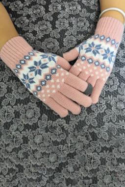 粉色时髦可爱针织手套