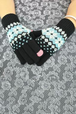 黑色时髦可爱针织手套