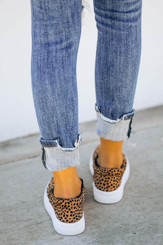 豹纹万圣节南瓜一脚蹬时尚休闲鞋 LC12207
