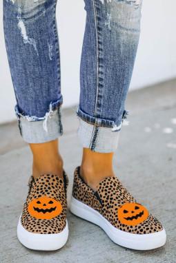 豹纹万圣节南瓜一脚蹬时尚休闲鞋