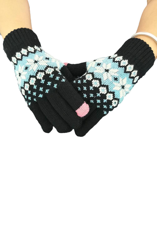 黑色时髦可爱针织手套 LC002012