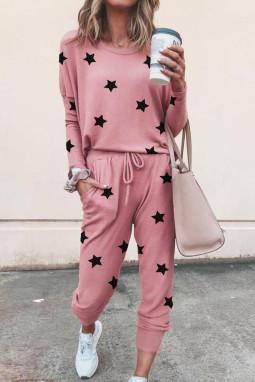 粉色星星印花长袖家居运动服两件套