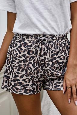 时尚豹纹运动休闲短裤