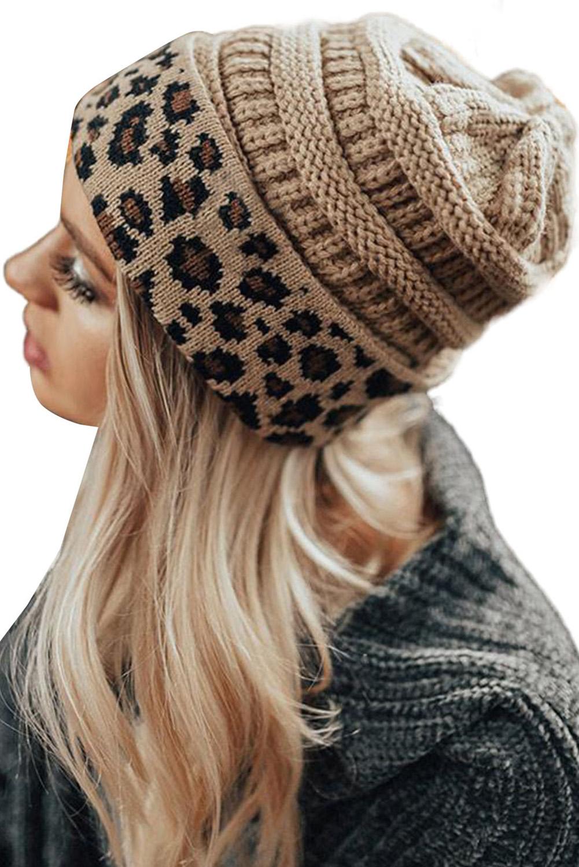 杏色针织豹纹毛线帽 LC02151