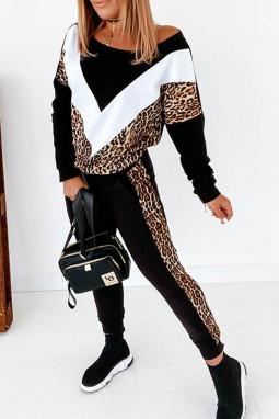 时尚拼色豹纹长袖休闲运动套装