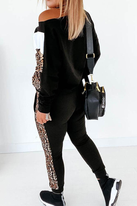 时尚拼色豹纹长袖休闲运动套装 LC62590