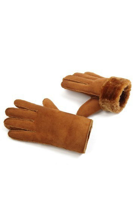 卡其色仿麂皮毛绒内衬时尚冬季手套 LC002025