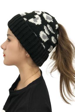 黑色可爱印花针织毛线帽