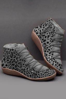灰色侧拉链时尚豹纹靴子