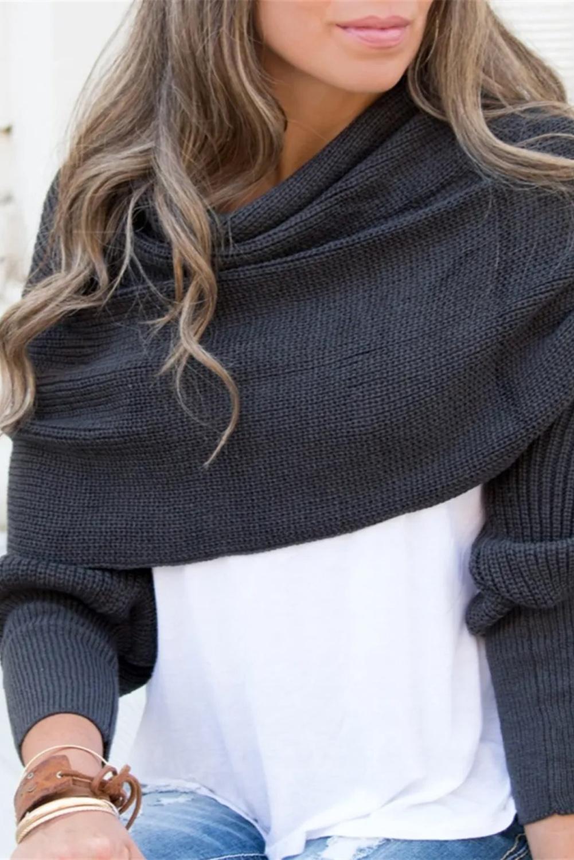 黑色针织多功能毛衣披肩围巾 LC04128