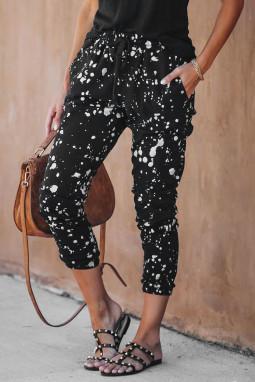 时尚斑点印花口袋抽绳黑色舒适休闲裤