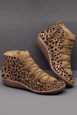 棕色侧拉链时尚豹纹靴子