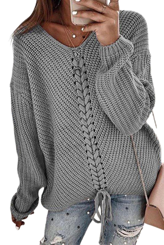 灰色V领时尚绑带宽松长袖针织套头毛衣 LC272215