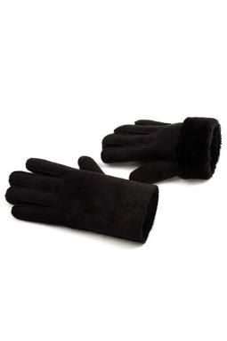 黑色仿麂皮毛绒内衬时尚冬季手套