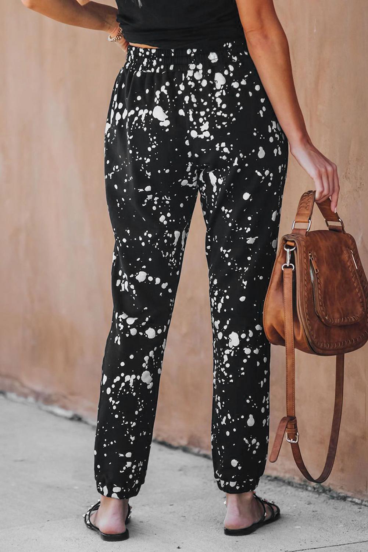 时尚斑点印花口袋抽绳黑色舒适休闲裤 LC77606