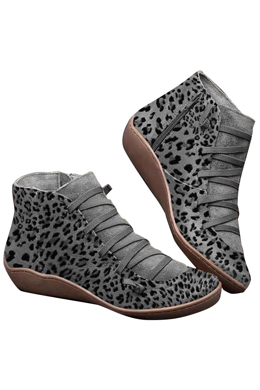 灰色侧拉链时尚豹纹靴子 LC12128