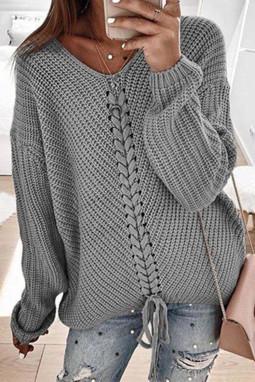 灰色V领时尚绑带宽松长袖针织套头毛衣