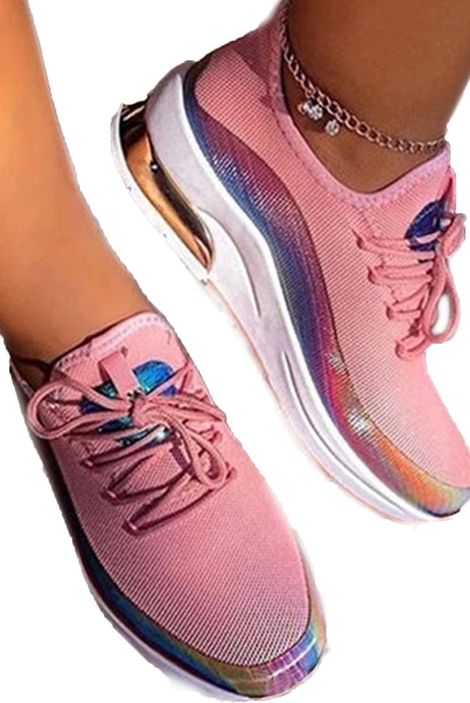 粉色系带硫化时尚轻便运动鞋 LC12145