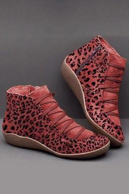 红色侧拉链时尚豹纹靴子