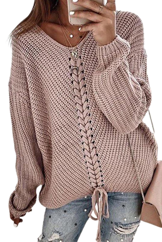 藕荷色V领时尚绑带宽松长袖针织套头毛衣 LC272215