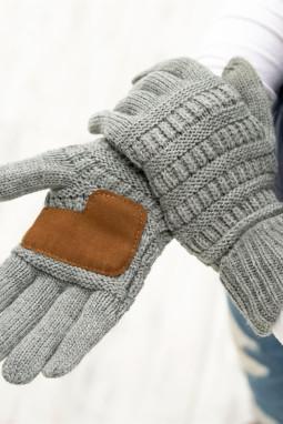 绒革拼接灰色针织冬季手套