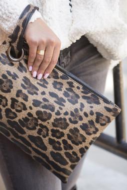 棕色时尚豹纹手拿包